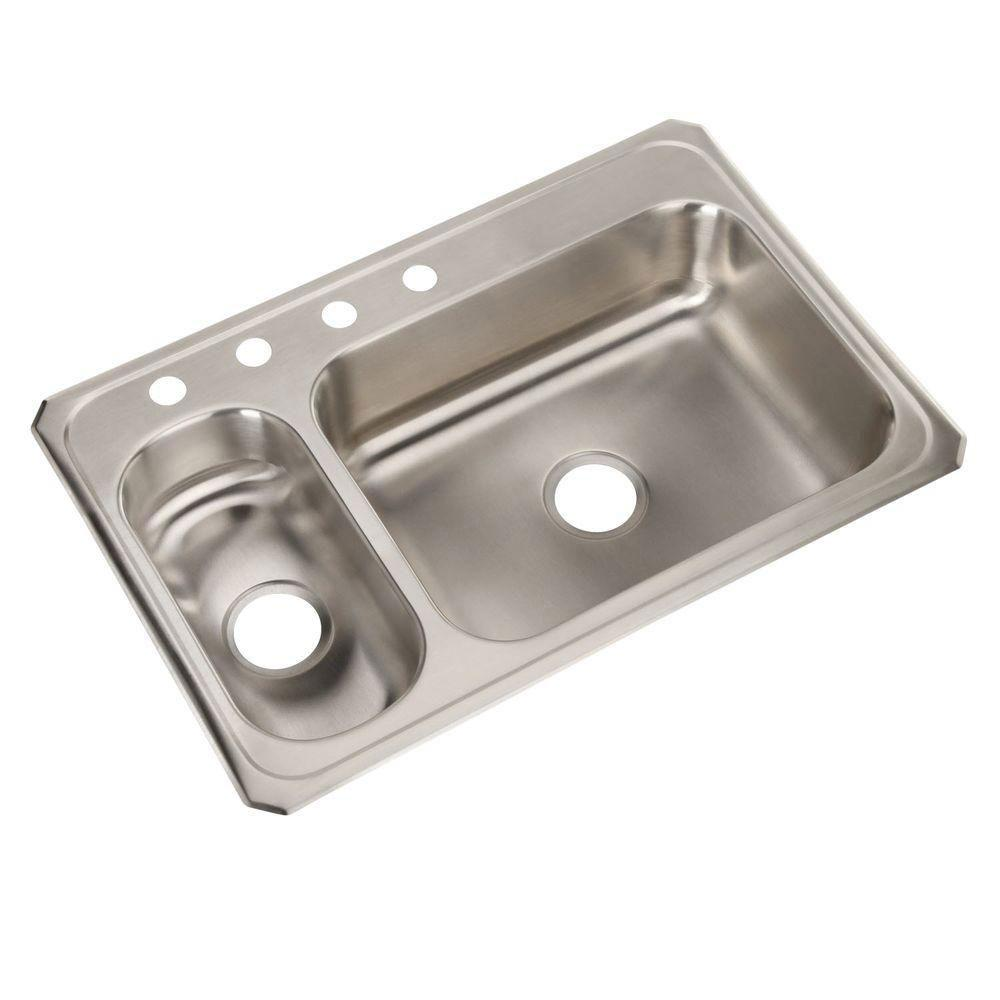 Elkay Celebrity Top Mount Stainless Steel 33x22x6-7/8 4-Hole Double ...