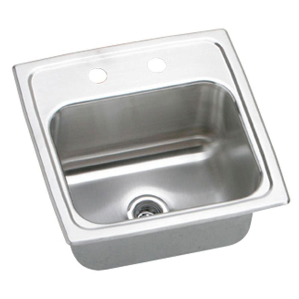 Elkay Gourmet Lustertone Top Mount Stainless Steel 15x15x7.13 3-Hole Single Bowl Kitchen Sink in Satin 846892