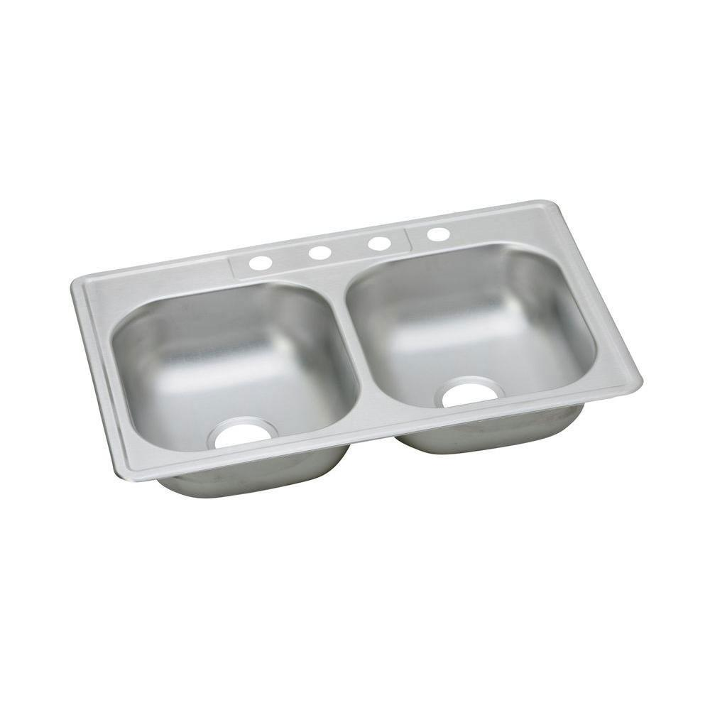 Elkay Dayton Top Mount Stainless Steel 33x22x6.5 2-Hole Double Bowl Kitchen Sink 849016