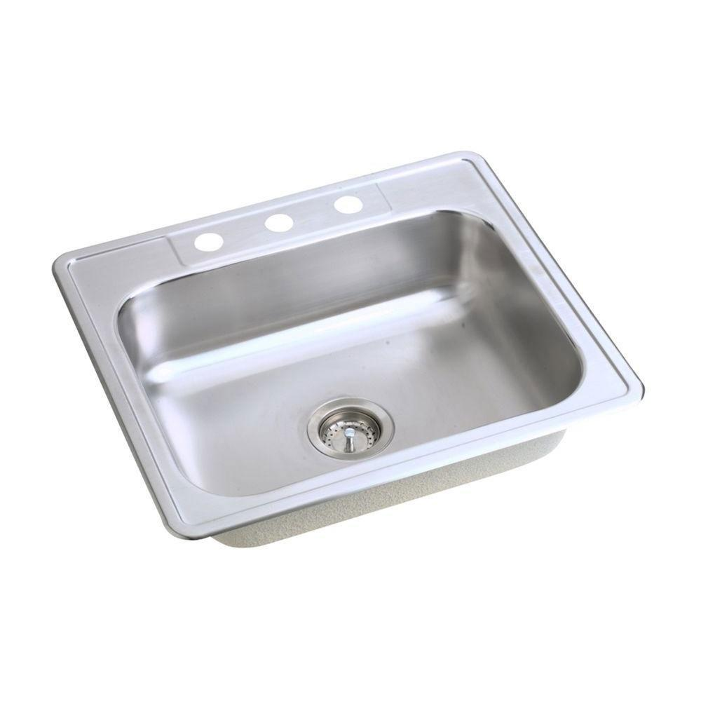 Elkay Dayton Top Mount Stainless Steel 25 inch 3-Hole Single Bowl Kitchen Sink 849043