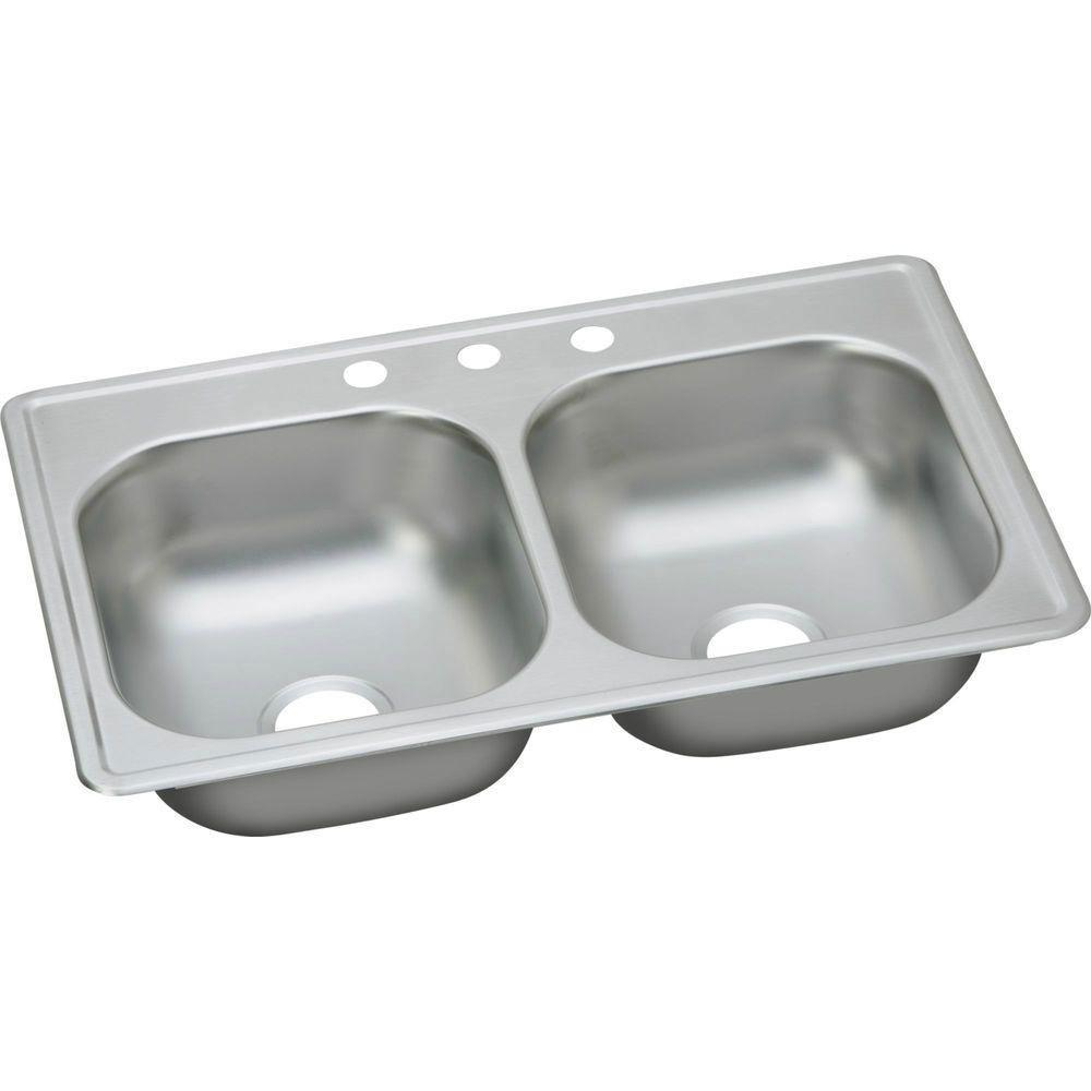 Elkay Dayton Top Mount Stainless Steel 19x33x6-7/16 inch 3-Hole Double Bowl  Kitchen Sink 849070
