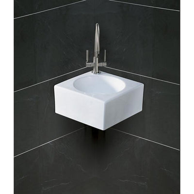 Kingston White Villa White China Vessel Bathroom Sink with Faucet Hole EV1093