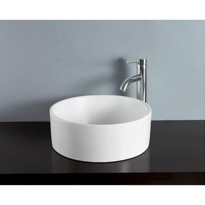 Kingston White Park White China Vessel Bathroom Sink without Overflow EV3103