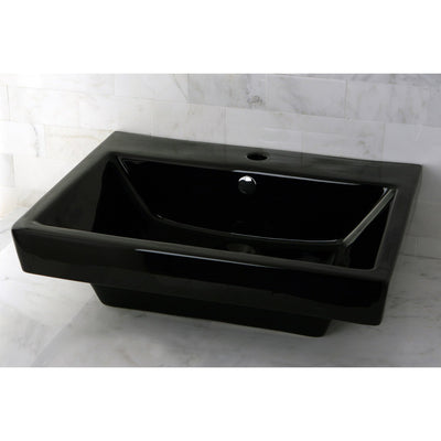 Black China Vessel Bathroom Sink with Overflow Hole & Faucet Hole EV4024K