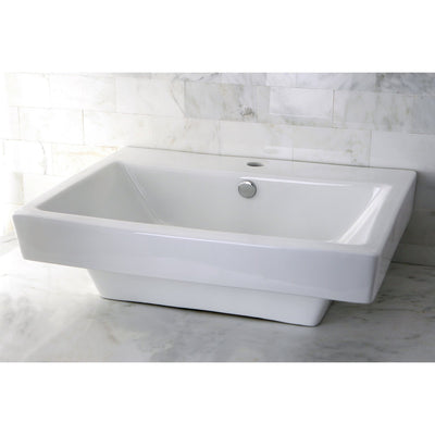 White China Vessel Bathroom Sink with Overflow Hole & Faucet Hole EV4024
