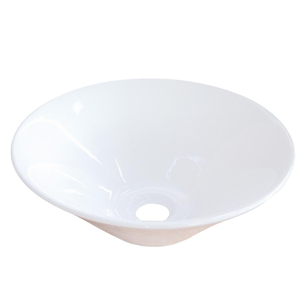 White SoHo White China Vessel Bathroom Sink without Overflow Hole EV4037