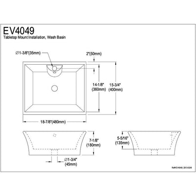 White China Vessel Bathroom Sink with Overflow Hole & Faucet Hole EV4049