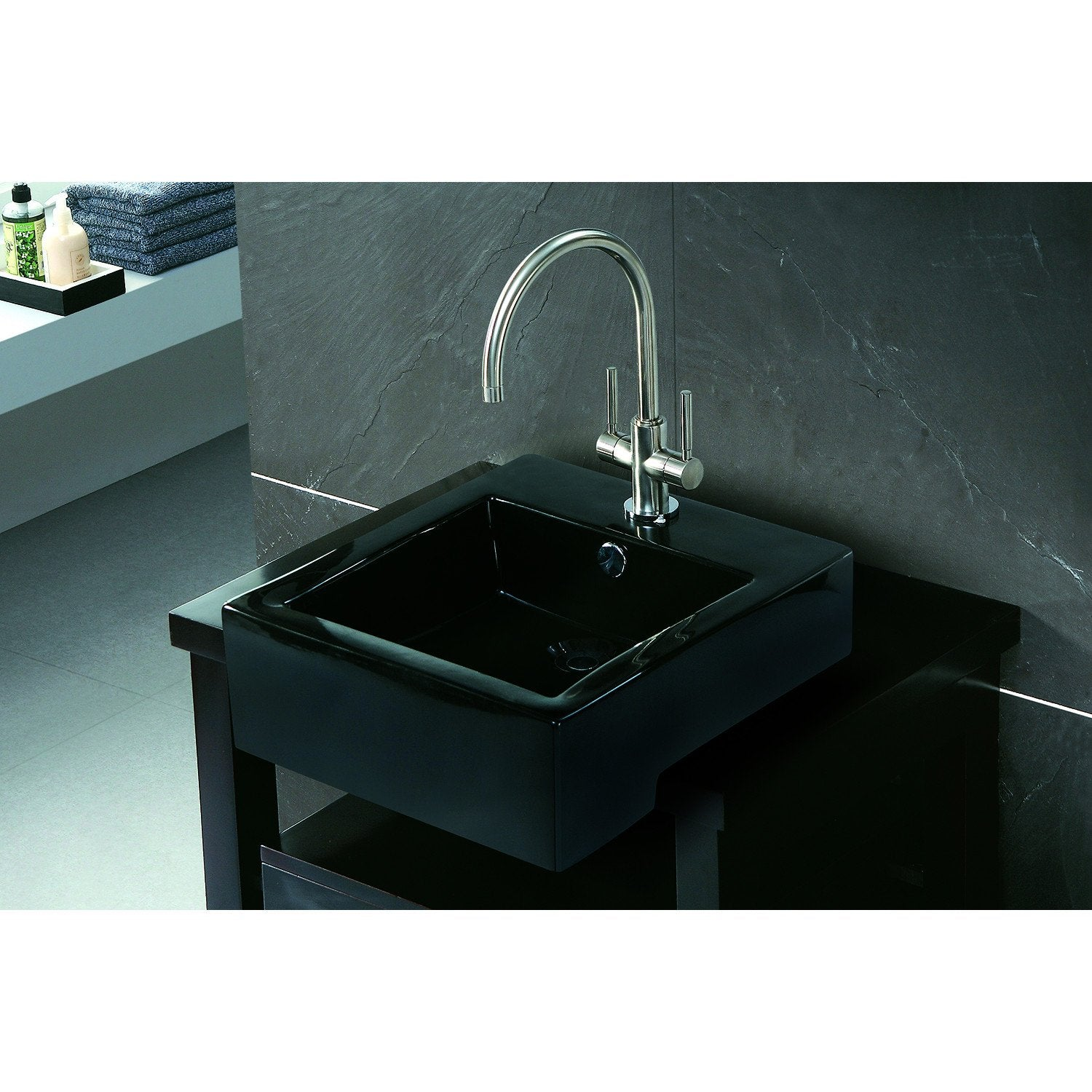 Black China Vessel Bathroom Sink With Overflow Hole