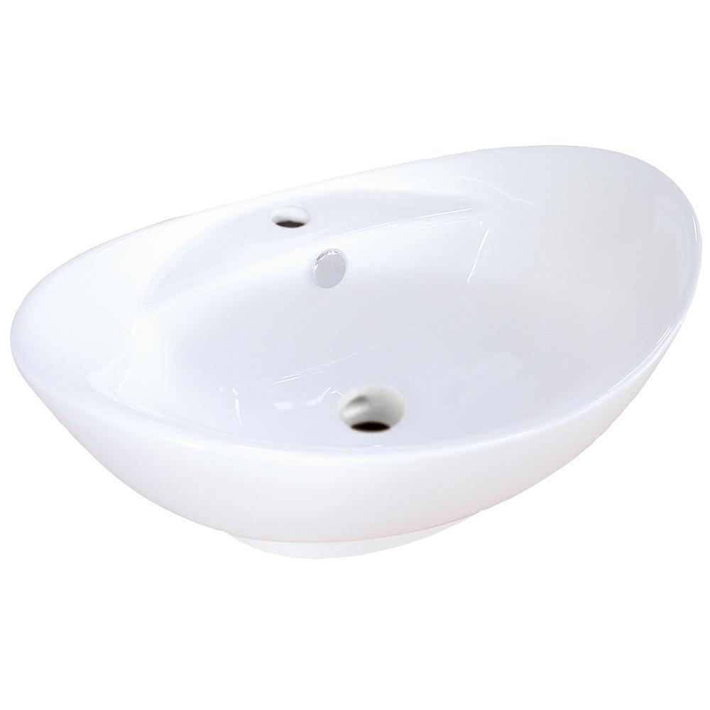 White China Vessel Bathroom Sink with Overflow Hole & Faucet Hole EV4080