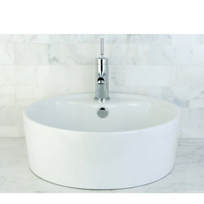 White China Vessel Bathroom Sink with Overflow Hole & Faucet Hole EV4104