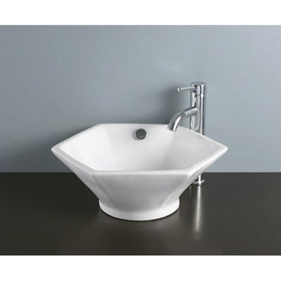 Kingston Metropolitan White China Vessel Bathroom Sink with Overflow Hole EV4106