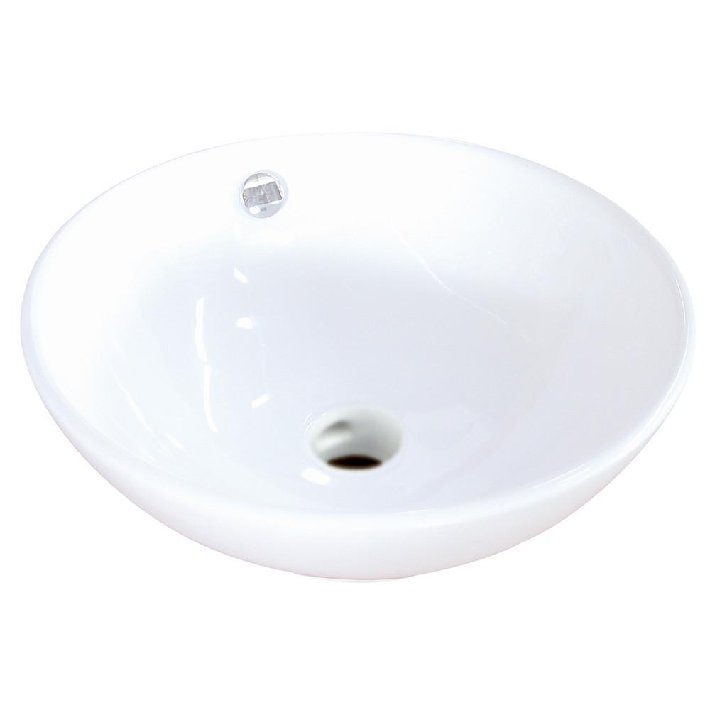 Kingston Perfection White China Vessel Bathroom Sink with Overflow Hole EV4129
