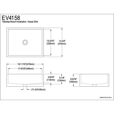 Kingston Elements White China Vessel Bathroom Sink without Overflow Hole EV4158