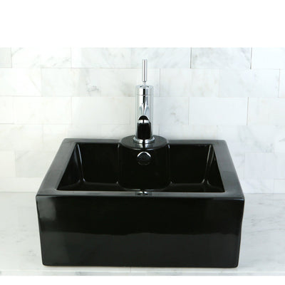 Black China Vessel Bathroom Sink with Overflow Hole & Faucet Hole EV4186K