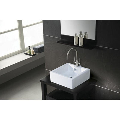 White China Vessel Bathroom Sink with Overflow Hole & Faucet Hole EV4186