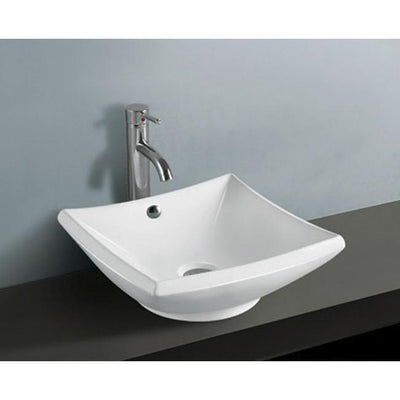 Kingston Courtyard White China Vessel Bathroom Sink with Overflow Hole EV4220