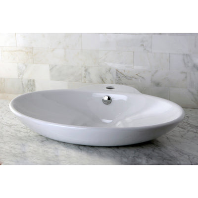 White China Vessel Bathroom Sink with Overflow Hole & Faucet Hole EV4251