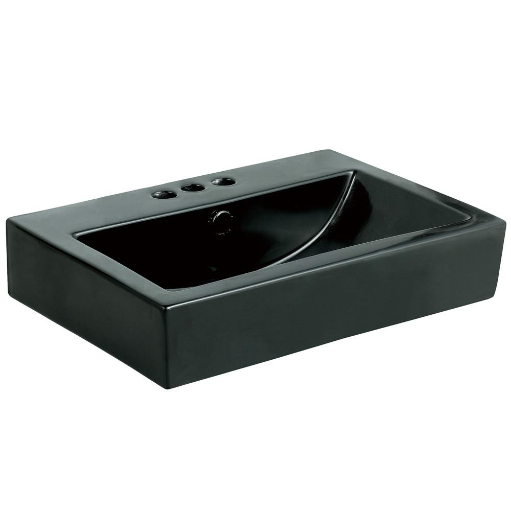 Kingston Black China Vessel Bathroom Sink w/Overflow & 3 Faucet Holes EV4318K34