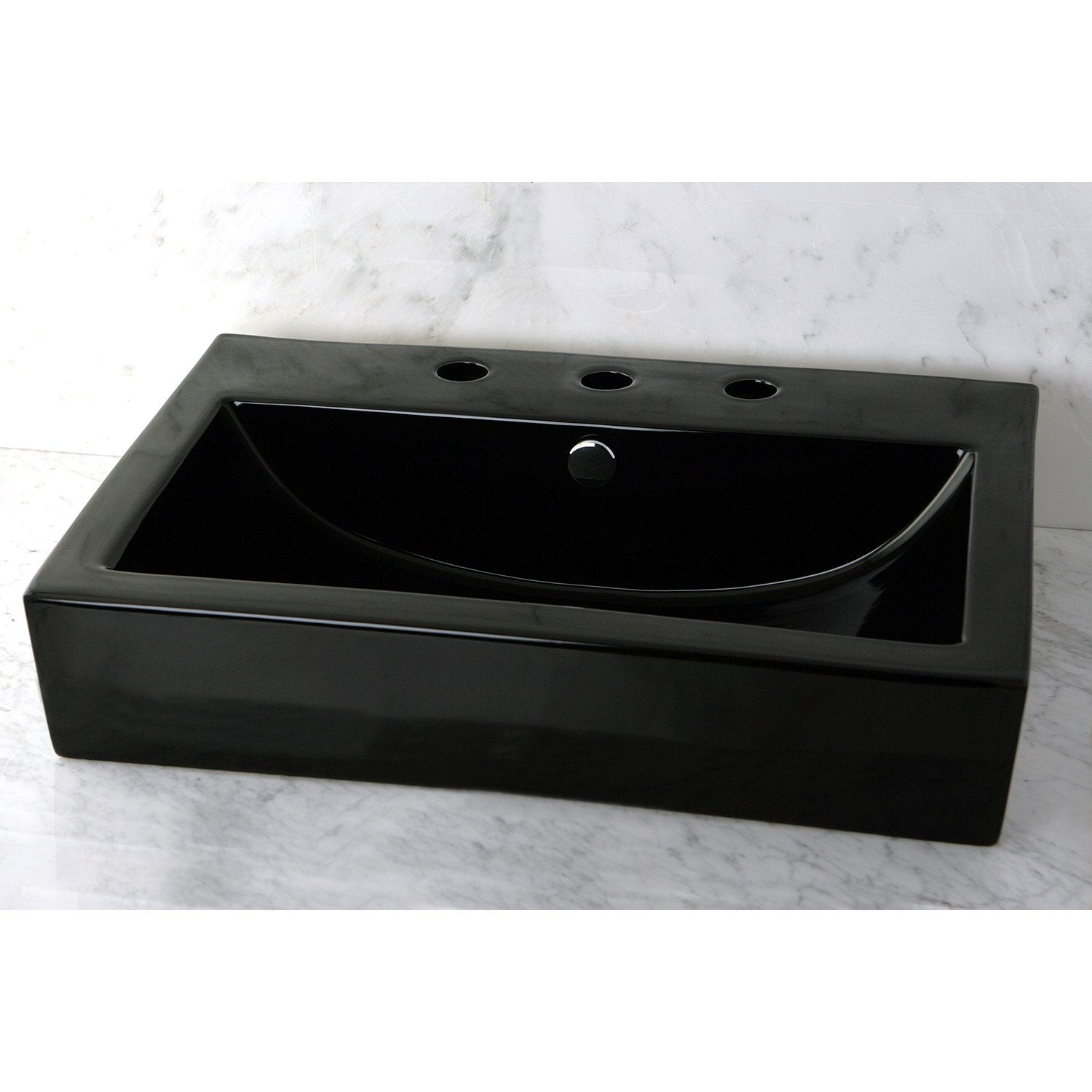 Black China Vessel Bathroom Sink w/Overflow Hole & 3 Faucet Holes ...