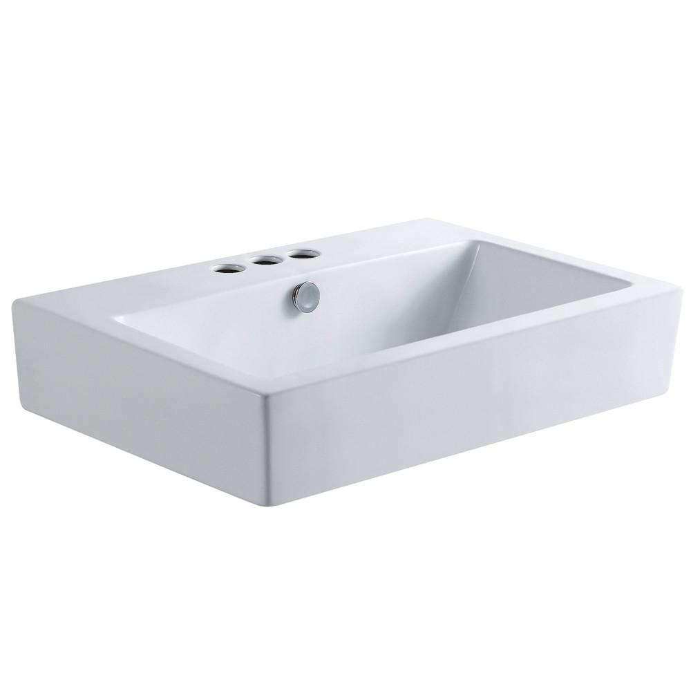 White China Vessel Bathroom Sink w/Overflow Hole & 3 Faucet Holes EV4318W34