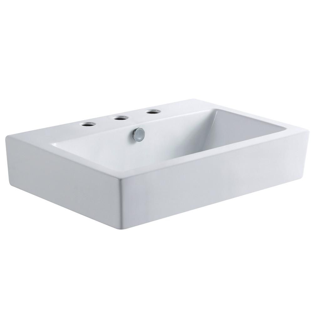 White China Vessel Bathroom Sink w/Overflow Hole & 3 Faucet Holes EV4318W38