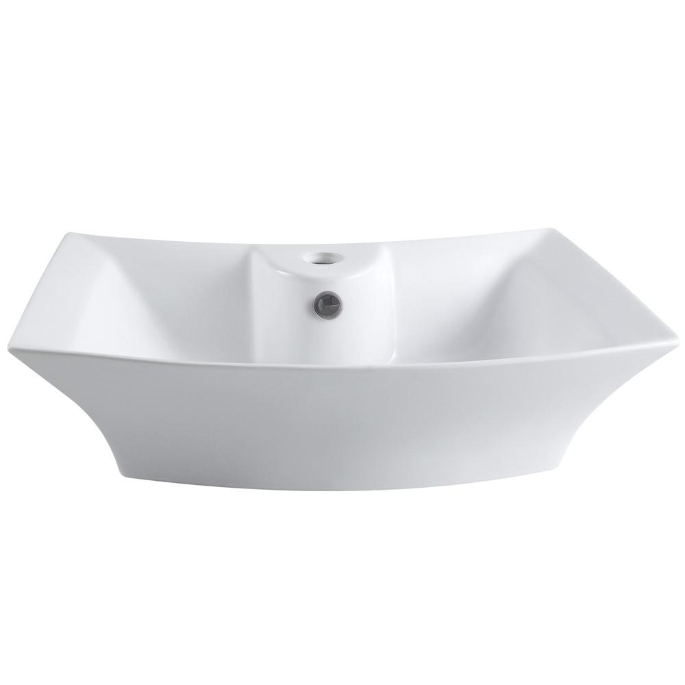 Kingston White China Vessel Bathroom Sink with Overflow Hole & Faucet Hole EV4337