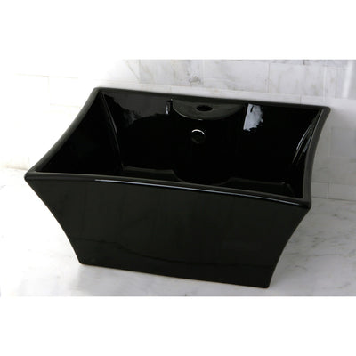 Kingston Black China Vessel Bathroom Sink w/Overflow Hole & Faucet Hole EV4449K