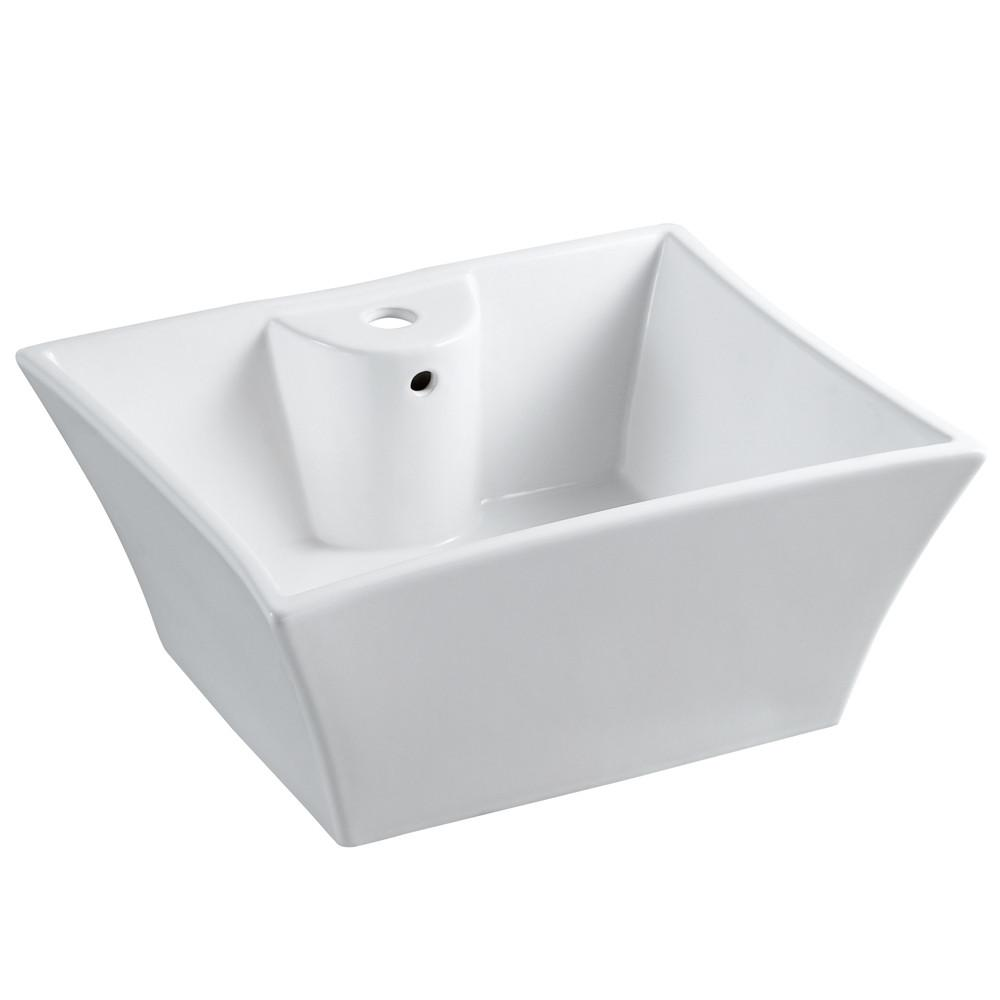 Kingston White China Vessel Bathroom Sink w/Overflow Hole & Faucet Hole EV4449