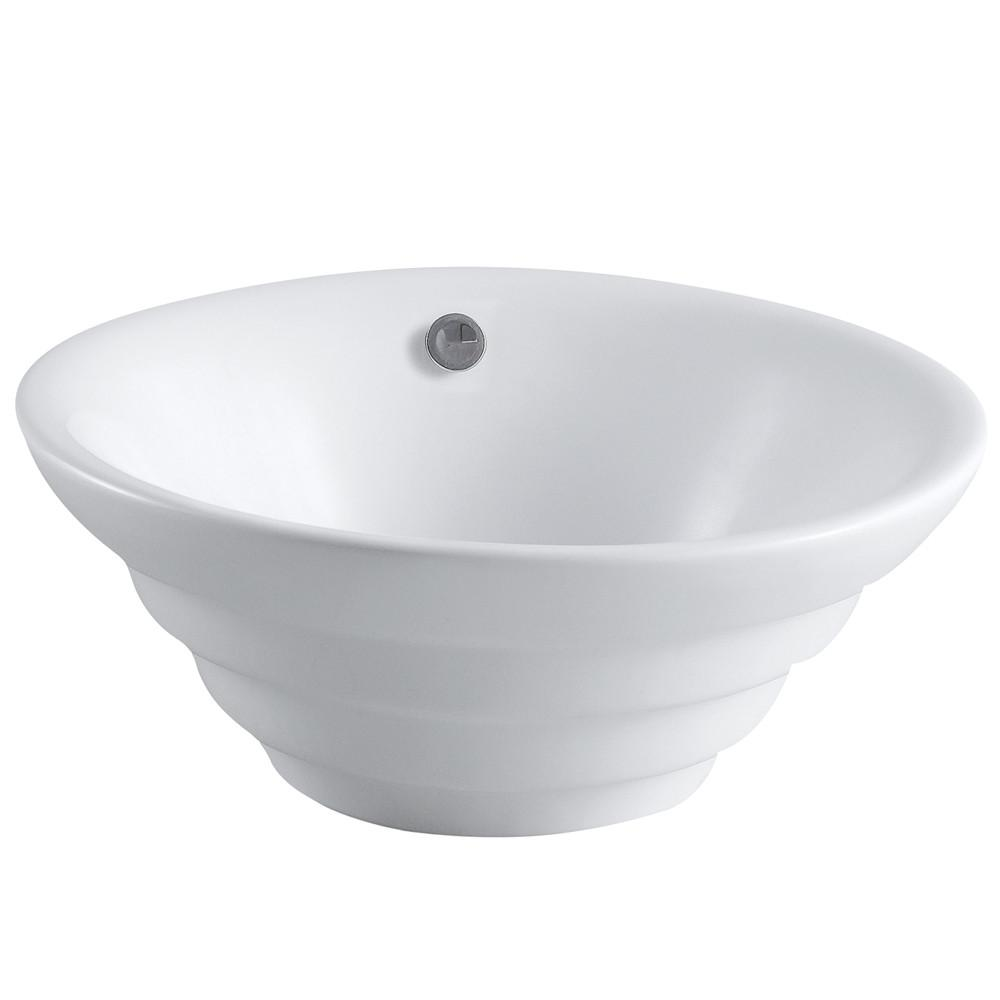 White Allegro White China Vessel Bathroom Sink with Overflow Hole EV5117