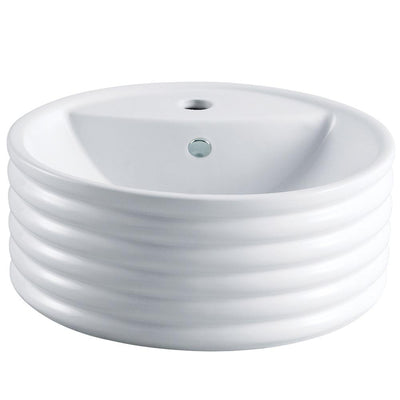 White China Vessel Bathroom Sink with Overflow Hole & Faucet Hole EV5212