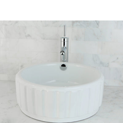 Kingston Italiano White China Vessel Bathroom Sink with Overflow Hole EV7129