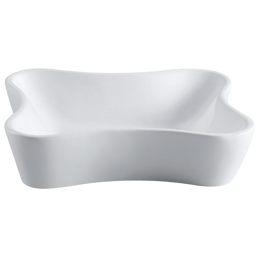 Kingston Nuevo White China Vessel Bathroom Sink without Overflow Hole EV8126
