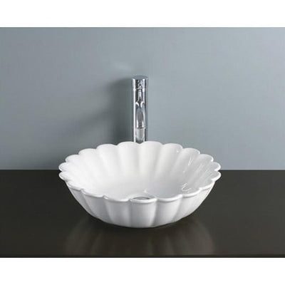 Kingston Daisy White China Vessel Bathroom Sink without Overflow Hole EV9122