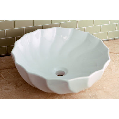 Kingston Odyssey White China Vessel Bathroom Sink without Overflow Hole EV9143