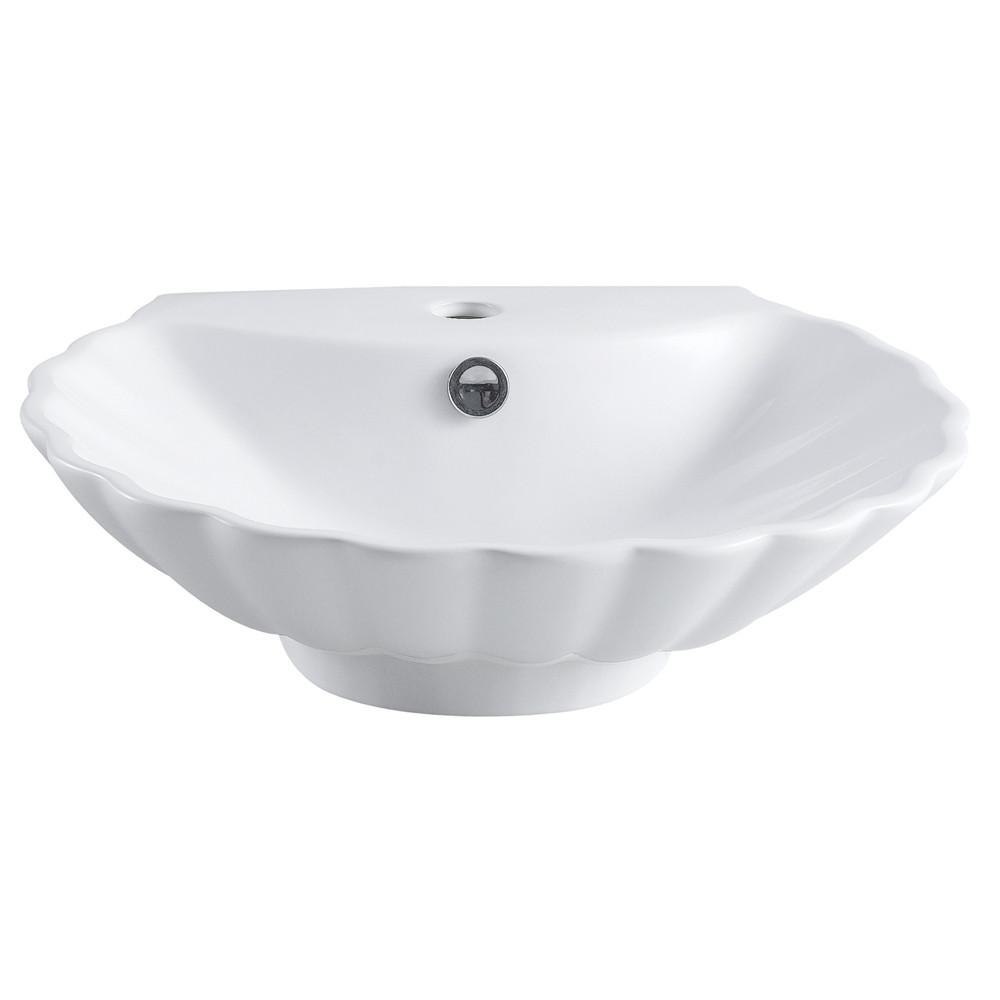 Kingston White China Vessel Bathroom Sink w/Overflow Hole & Faucet Hole EV9207
