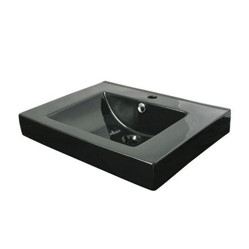 Kingston Black China Vessel Bathroom Sink w/Overflow Hole & Faucet Hole EV9620K