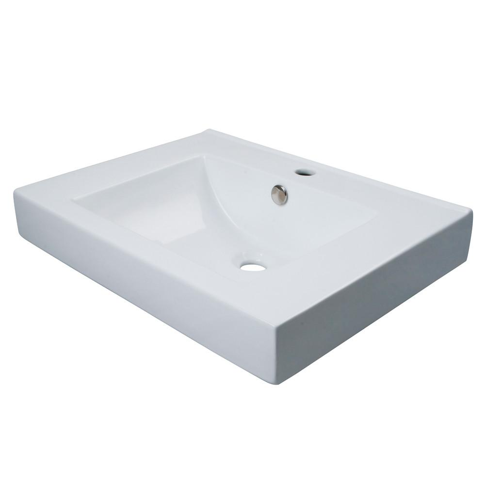 Kingston White China Vessel Bathroom Sink w/Overflow Hole & Faucet Hole EV9620