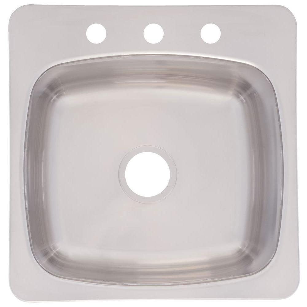 Franke Top Mount Stainless Steel 20-1/8 inch 3-Hole Single Bowl Prep Sink 224917