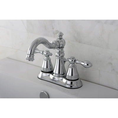 "Kingston Chrome 2 Handle 4"" Centerset Bathroom Faucet with Pop-up FS1601ACL"