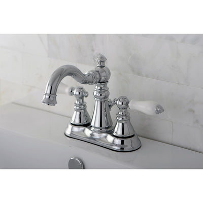 "Kingston Chrome 2 Handle 4"" Centerset Bathroom Faucet with Pop-up FS1601APL"