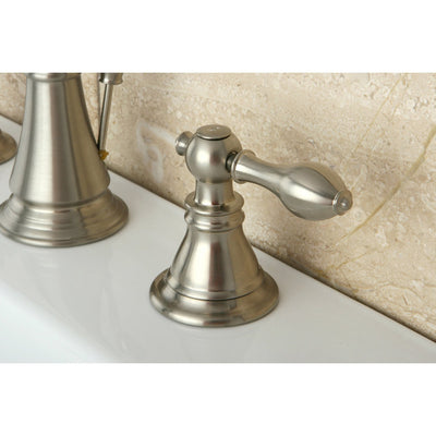 "Kingston Satin Nickel 2 Handle 8"" Widespread Bathroom Faucet w Drain FS1978ACL"