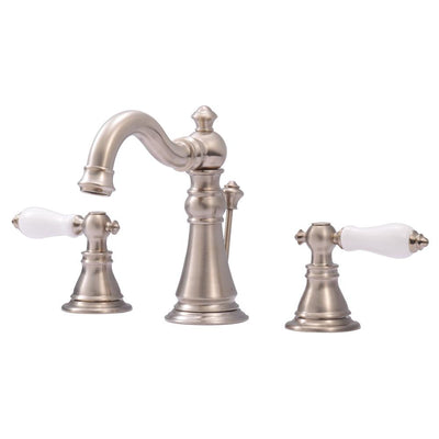 "Kingston Satin Nickel 2 Handle 8"" Widespread Bathroom Faucet w Drain FS1978APL"