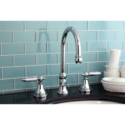 Kingston Brass Chrome 2 Handle Widespread Bathroom Faucet w Pop-up FS2981GL