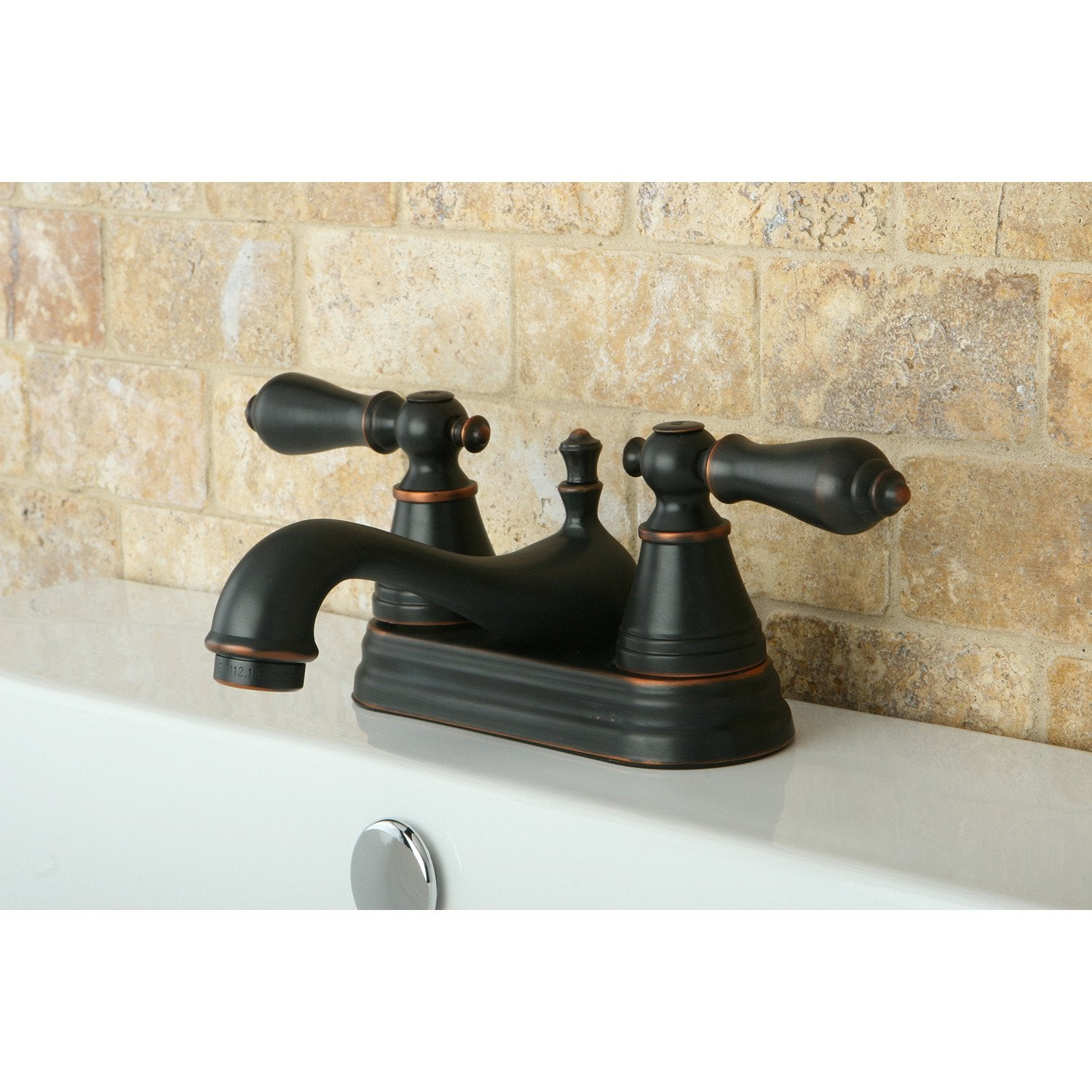 "Kingston Nobel Bronze 2 Handle 4"" Centerset Bathroom Faucet with Pop-up FS3606AL"