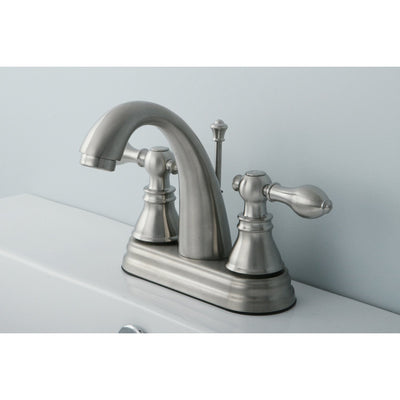 "Kingston Satin Nickel 2 Handle 4"" Centerset Bathroom Faucet w Drain FS5618ACL"
