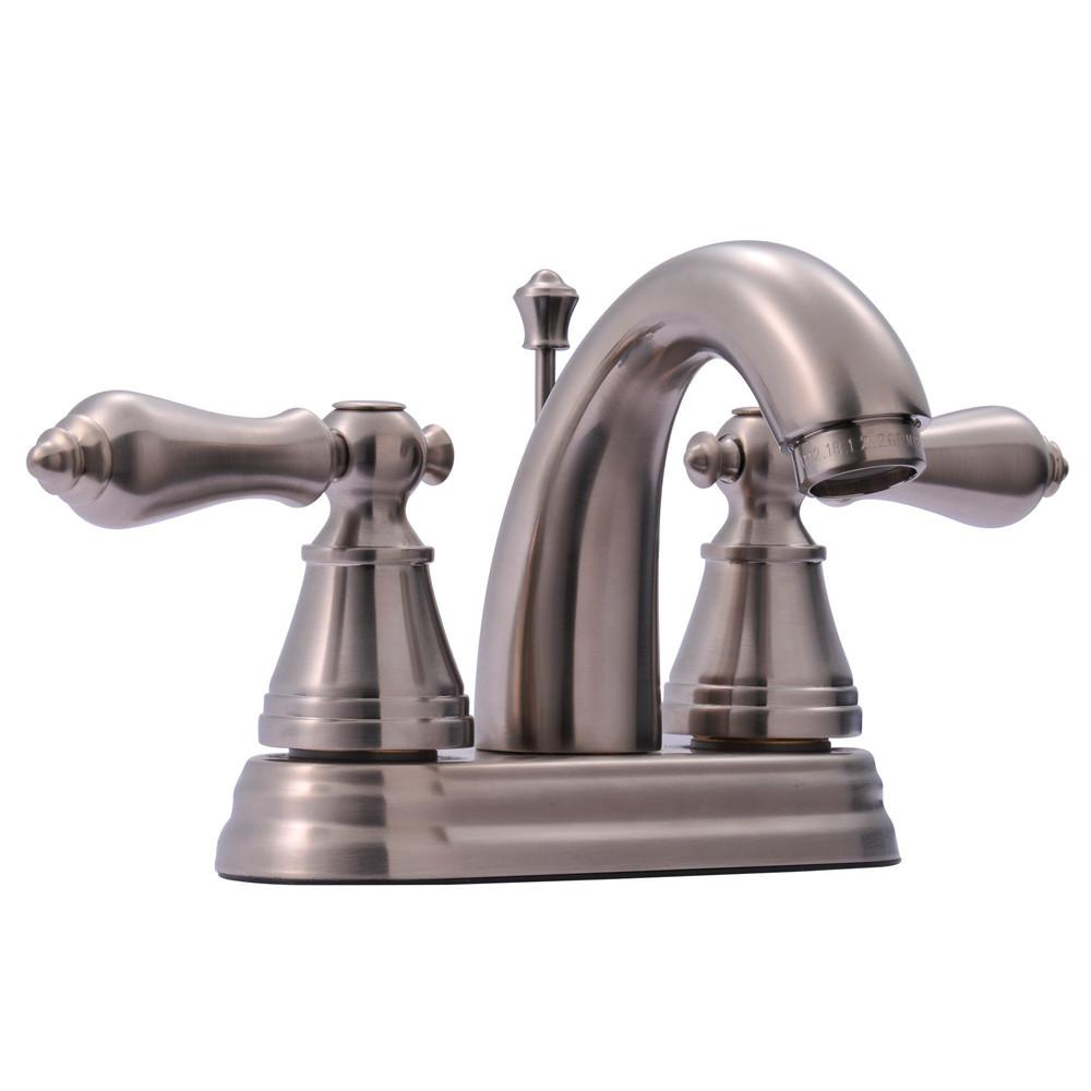 "Kingston Brass Satin Nickel 2 Hdl 4"" Centerset Bathroom Faucet w Drain FS7618AL"