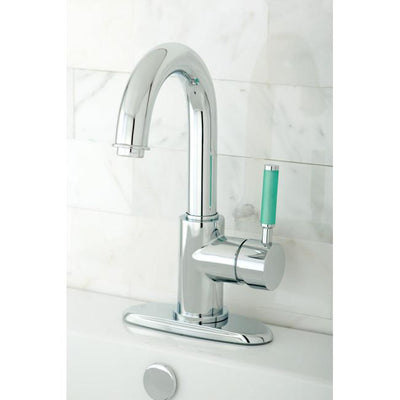 Kingston Green Eden Chrome Single Handle Bathroom Sink Faucet w drain FS8431DGL