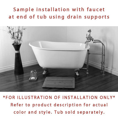 Freestanding Floor Mount Satin Nickel White Porcelain Lever Handle Clawfoot Tub Filler Faucet with Hand Shower Package 3017T8FSP