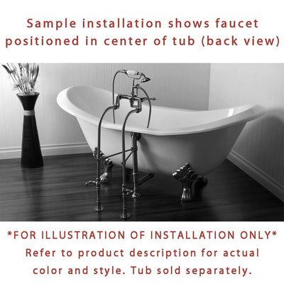 Freestanding Floor Mount Satin Nickel White Porcelain Lever Handle Clawfoot Tub Filler Faucet with Hand Shower Package 23T8FSP