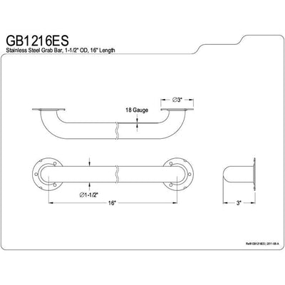 "Kingston Brass Grab Bars - Satin Nickel 16"" Commercial Grade Grab Bar GB1216ES"